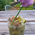 Verrine kiwi roquefort et ses pistaches