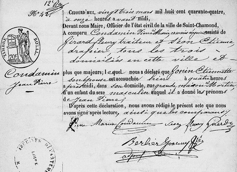 James Condamin naissance 1844 - 1