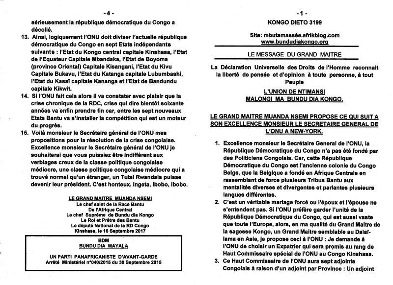 LE GRAND MAITRE MUANDA NSEMI PROPOSE CE QUI SUIT A SON EXCEMMENCE MONSIEUR LE SECRETAIRE GENERAL DE L'ONU A NEW YORK a