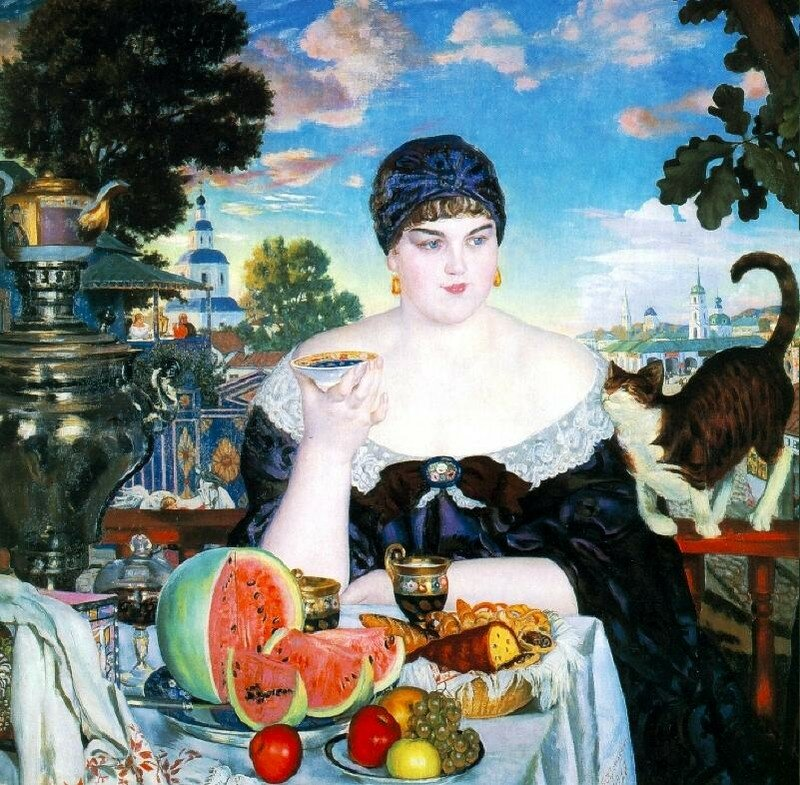 Boris Kustodiev. A Merchant's Wife at Tea (1918)
