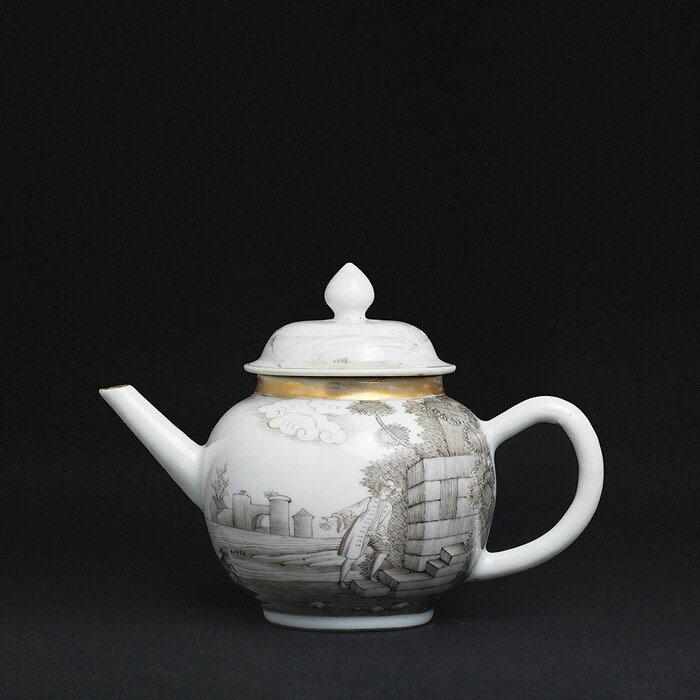 Ex-Hervouet collection grisaille Teapot, China, Qianlong period