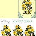 Carte avec nichoir et fleurs printannières