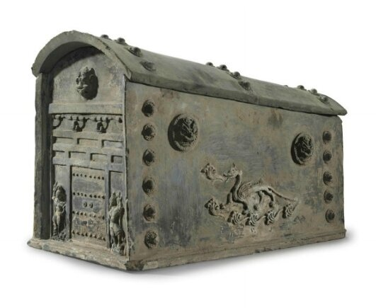 A very large dark grey pottery model of a reliquary, China, Six Dynasties period (AD 220-589)
