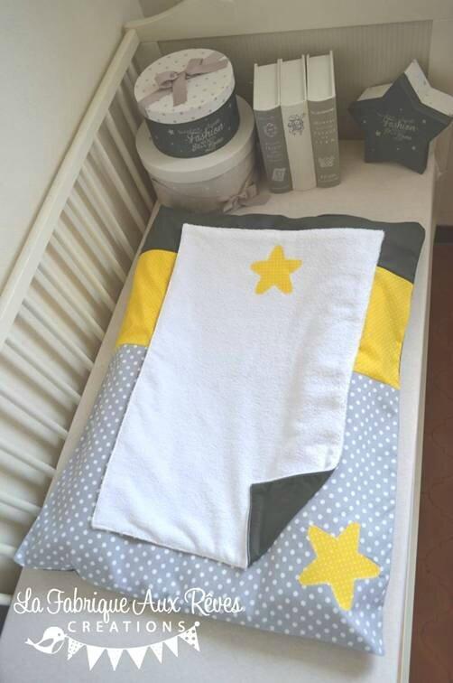 house matelas à langer étoile gris jaune blanc