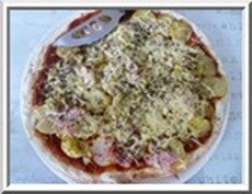 0158 - pizza tomates, pdt, jambon, origan