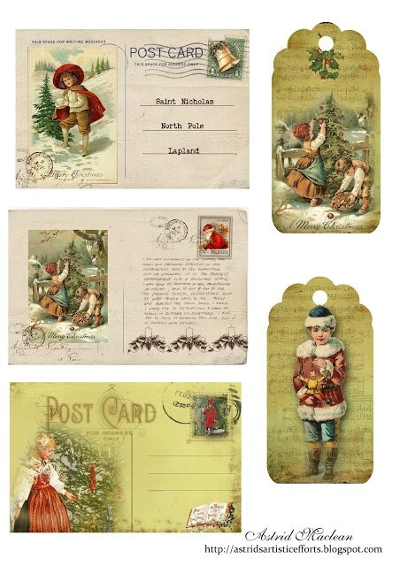 Christmas postcard sheet