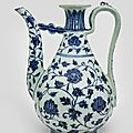 A rare blue and white ewer, ming dynasty, yongle period (1403-1424)