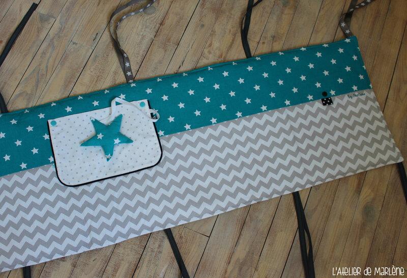 tour de lit bébé pied bots étoile et chevron 2