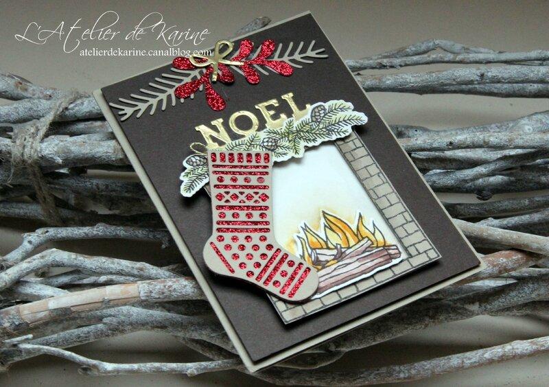 carte cheminée de Noël