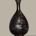 A Henan russet-painted black-glazed pear-shaped vase,yuhuchunping, Jin dynasty (1115-1234)