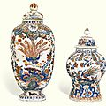 Four dutch delft polychrome vases and covers, circa 1700-1720