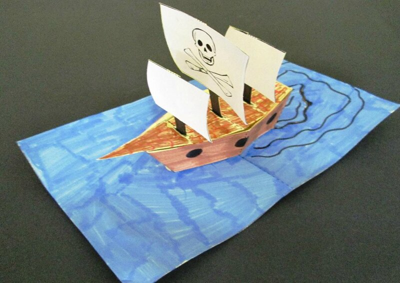 Une carte pop up bateau de pirate l 39 atelier du livre qui fourmille d 39 id es - Carte pop up facile ...