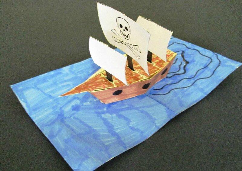 Une carte pop up bateau de pirate l 39 atelier du livre qui fourmille d 39 id es - Carte pop up a fabriquer ...