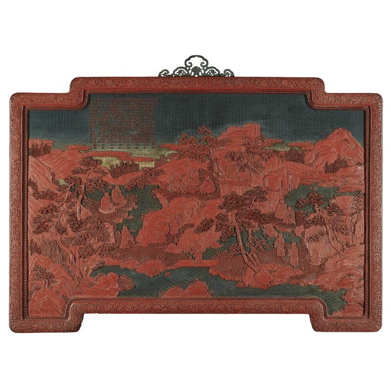 A large imperial inscribed carved lacquer panel, Qing dynasty, Qianlong period (1736-1795)