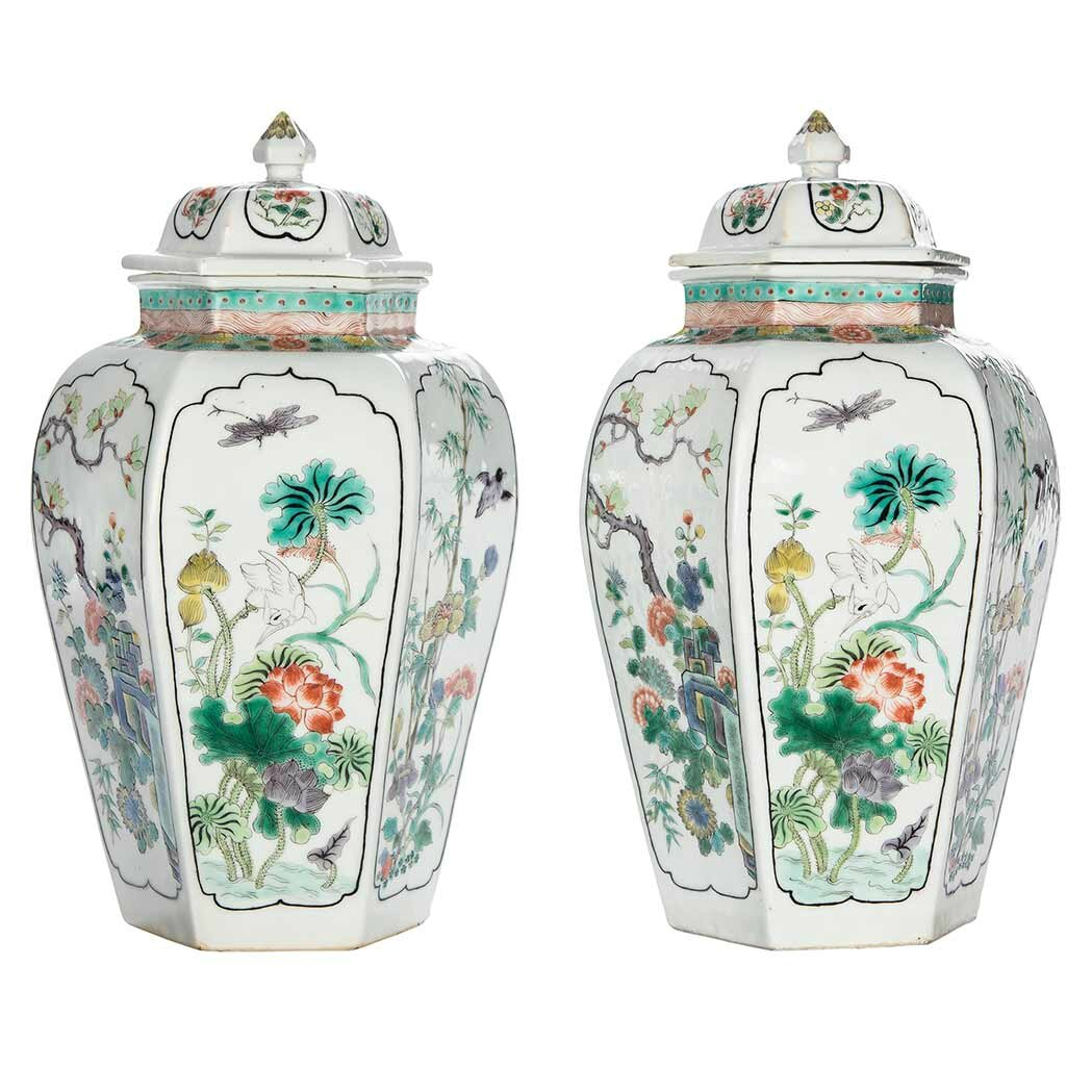 Pair of Chinese Famille Verte Enameled Porcelain Covered Vases, Kangxi Mark and of the Period