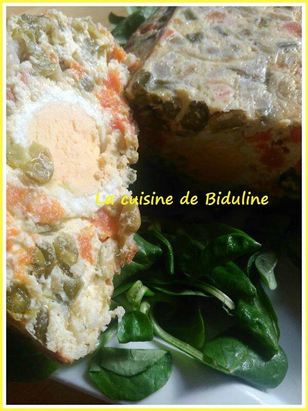 Ma terrine de Macédoine de légumes et aux œufs durs - La cuisine de Biduline