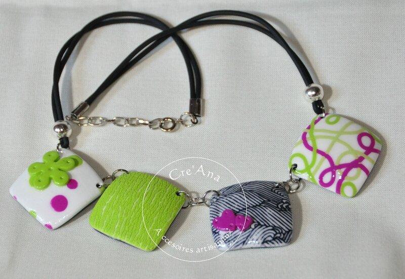 Collier lentille carrée vert et rose