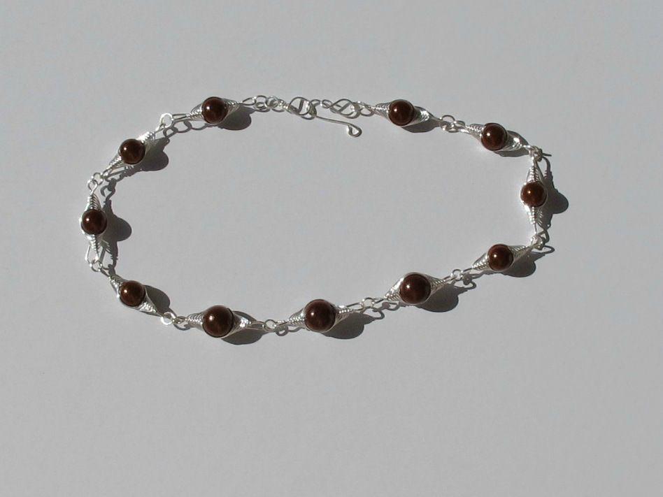 Collier wire perles marrons et fil argentFFD