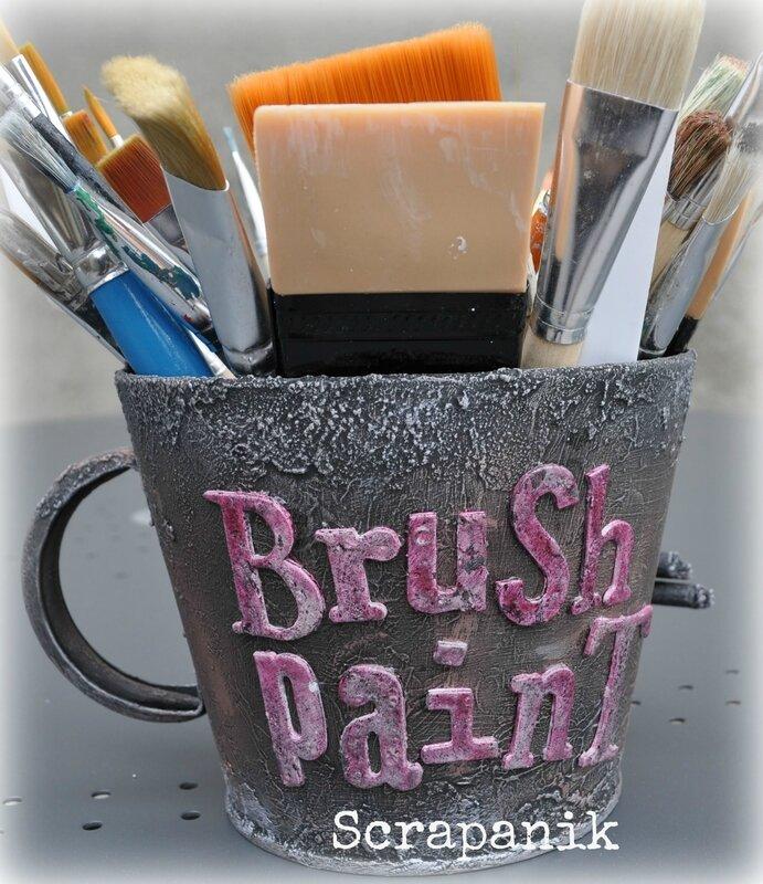 Brush paint mixed media