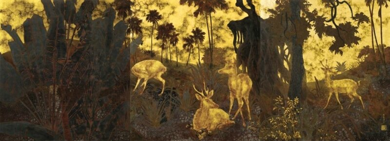 Phạm Hầu (1903-1995), A family of deer in a forest