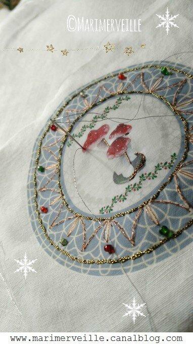 broderie sur transfert marimerveille champignons de Noël