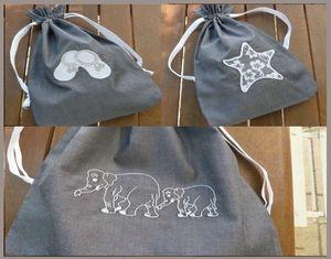 3 sacs popeline gris
