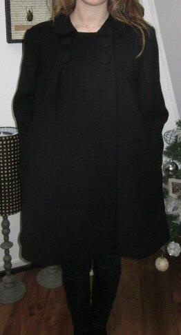 Manteau EDITH en lainage noir - double boutonnage, col claudine, manches trois quart - doublure de satin assortie - boutons recouverts dans le même tissu - taille 34 (5) - Cop - Copie