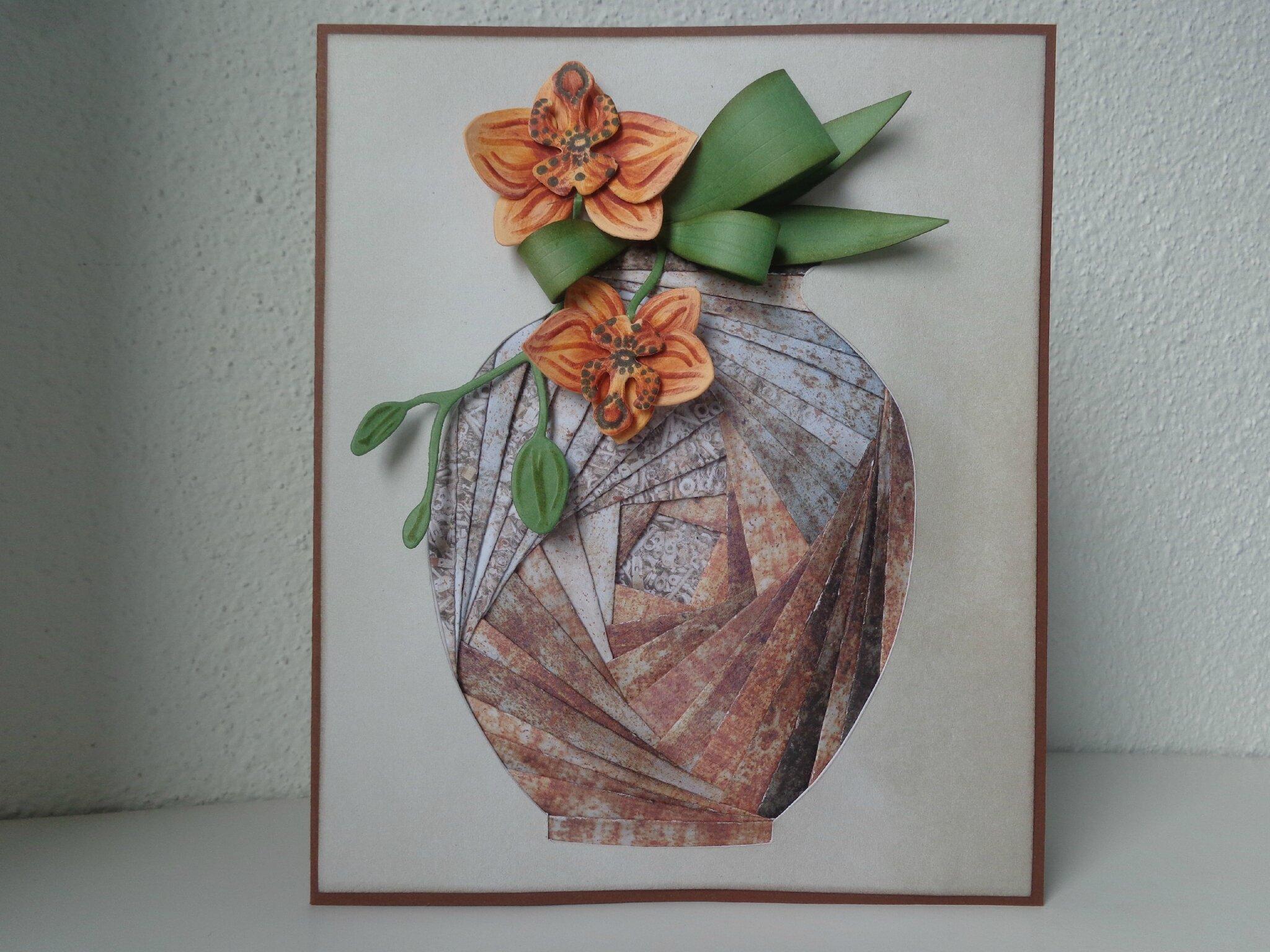 """Carte vase et orchidée """"iris folding"""""""