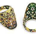 A gem-set and enamelled archer's ring, mughal india, 17th-18th century