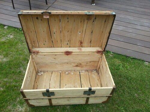 Remise en tat d 39 une malle en bois de famille la grange de c lia et cl - Renover malle en bois ...