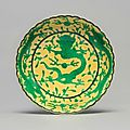 A yellow-ground green-enameled 'dragon' dish, Daoguang seal mark and period