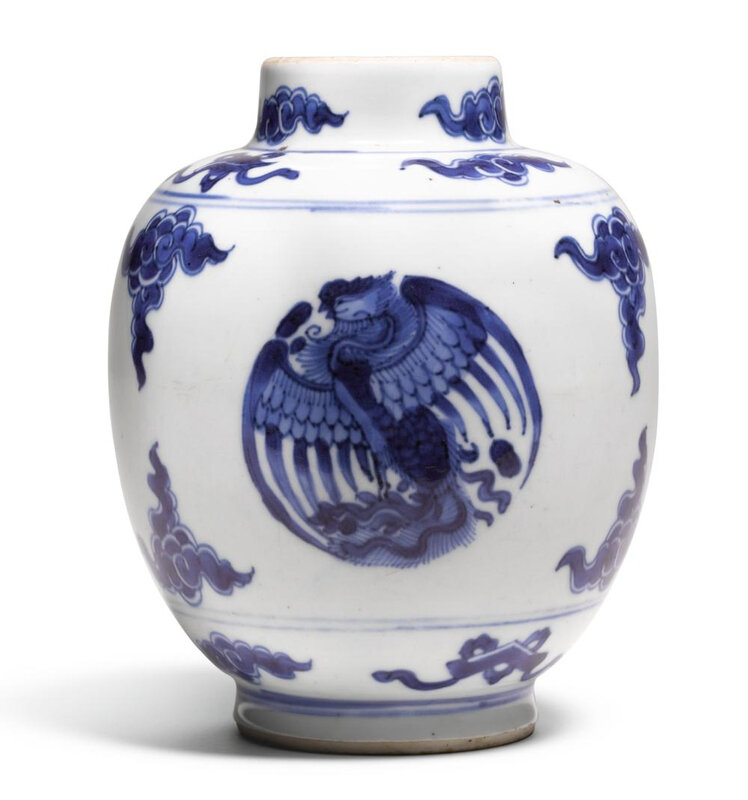A blue and white 'Phoenix medallion' jar, Qing dynasty, Kangxi period (1662-1722)