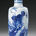 A blue and white rouleau vase, qing dynasty, kangxi period (1662-1722)