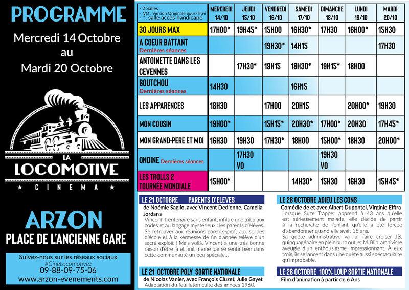Programme cinéma La Locomotive 14 au 20 octobre_2
