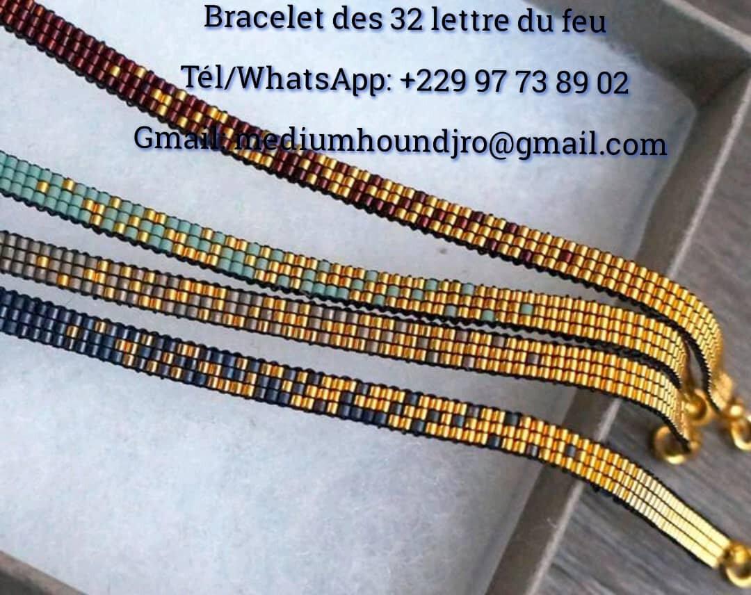 Bracelet des 32 lettre du feu du Grand maître marabout HOUNDJRO