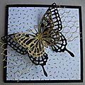 Carte papillon or, blanc et noir