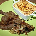 Foie de bœuf aux oignons et sa purée maison