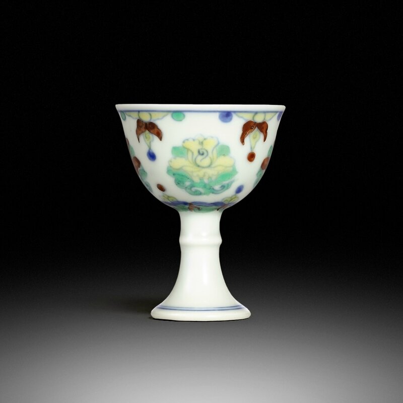 An extremely rare doucai stem cup, mark and period of Chenghua