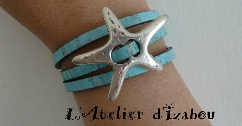 P1130338 Bracelet été étoile de mer cuir bleu ciel aspect liège