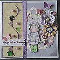 Carte anniversaire magnolia et broderie