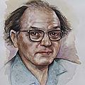peinture portrait aquarelle Olivier Messiaen par valérie albertosi