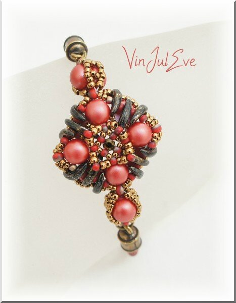 Bracelet Nov rouge bronze or