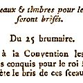 15 novembre 1793 – la convention nationale brise les effigies de louis xvii