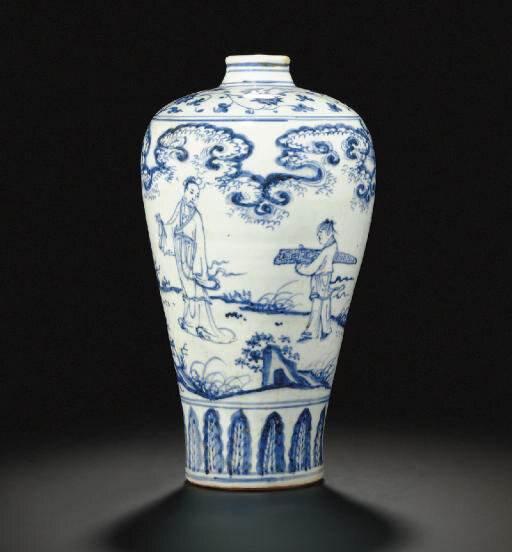 A blue and white meiping, Ming dynasty, late 15th century