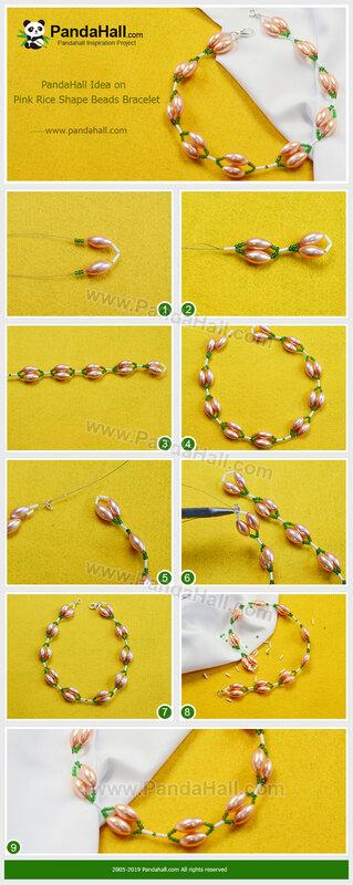 2-PandaHall Idea on Pink Rice Shape Beads Bracelet