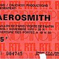 Aerosmith - lundi 1er novembre 1976 - hippodrome porte de pantin (paris)