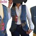Gilet sans manches fantaisie tailleur femme imprimé bleu marron fantaisie Jean patchwork mod 03B