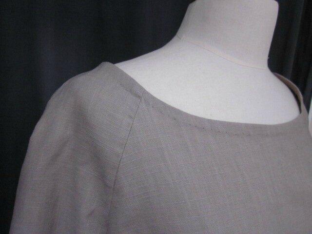 Tunique EDMEE en lin beige grisé (4)