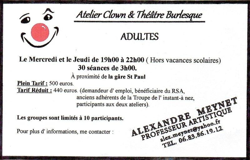 Atelier Clown et Théâtre burlesque.