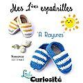Chaussons d'été Fait-main au Crochet bébé - Mes premières Espadrilles à Rayures bleues et blanches - Cadeaux de Naissance Made in France LittleCuriosité(2)